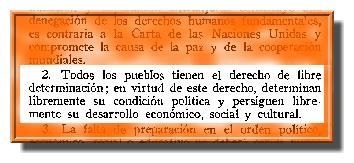 ONU. Extracto de la Carta Magna de la descolonización