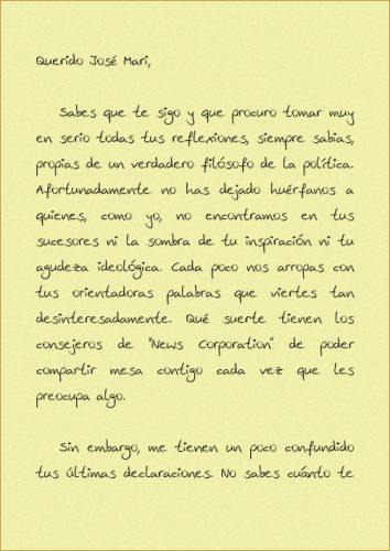 Carta a Jose Maria Aznar pagina 1